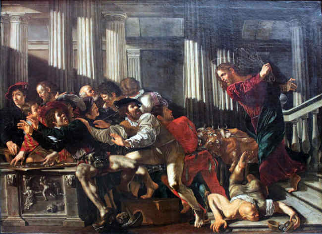This image has an empty alt attribute; its file name is cecco_del_caravaggio_christ_expulses_money_changers_anagoria.jpg